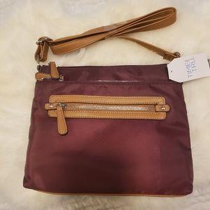 Nwt burgundy nylon handbag time and tru crossbody